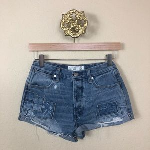 Euc Abercrombie high waist cutoff denim shorts 0